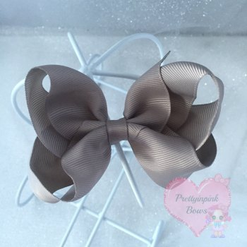 "4"" Boutique Bow On Croc Clip ~ Silver"