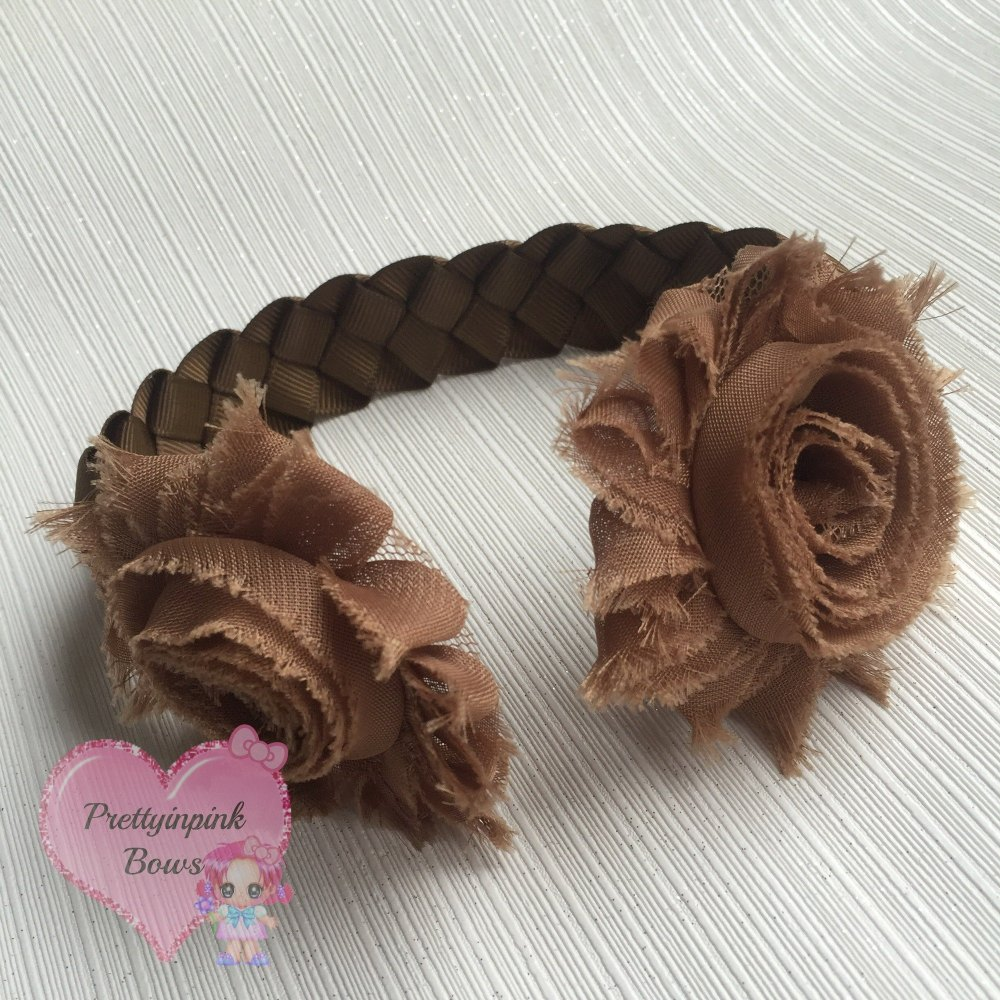 Medium Bun Wrap ~ Brown With Shabby Flowers