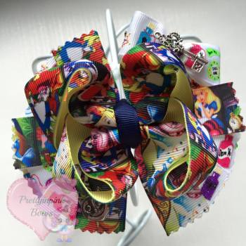 Princess Bow - Alice In Wonderland With Detail ~ On Croc Clip
