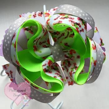 Princess Bow - Retro Floral ~ On Croc Clip