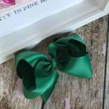 "4"" Boutique Bow On Croc Clip ~ Forrest Green"