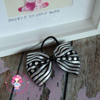 Large Minnie Bow - Black Sparkle ~ On Bobble