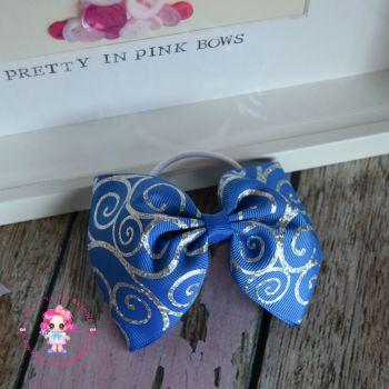 Large Minnie Bow - Blue Sparkle Swirl ~ On Bobble
