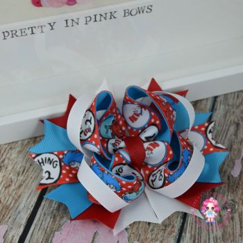 Princess Bow - Cat In The Hat, Thing 1 & Thing 2 ~ On Croc Clip