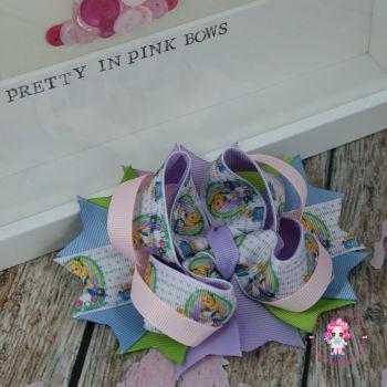 Princess Bow - Alice In Wonderland Pastle ~ On Croc Clip