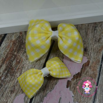 Pony Set - Yellow Gingham ~ On Croc Clips