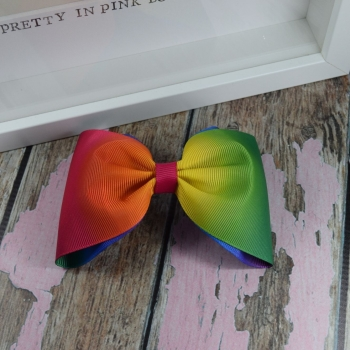 Large Minnie Bow - Rainbow Ombre ~ On Croc Clip