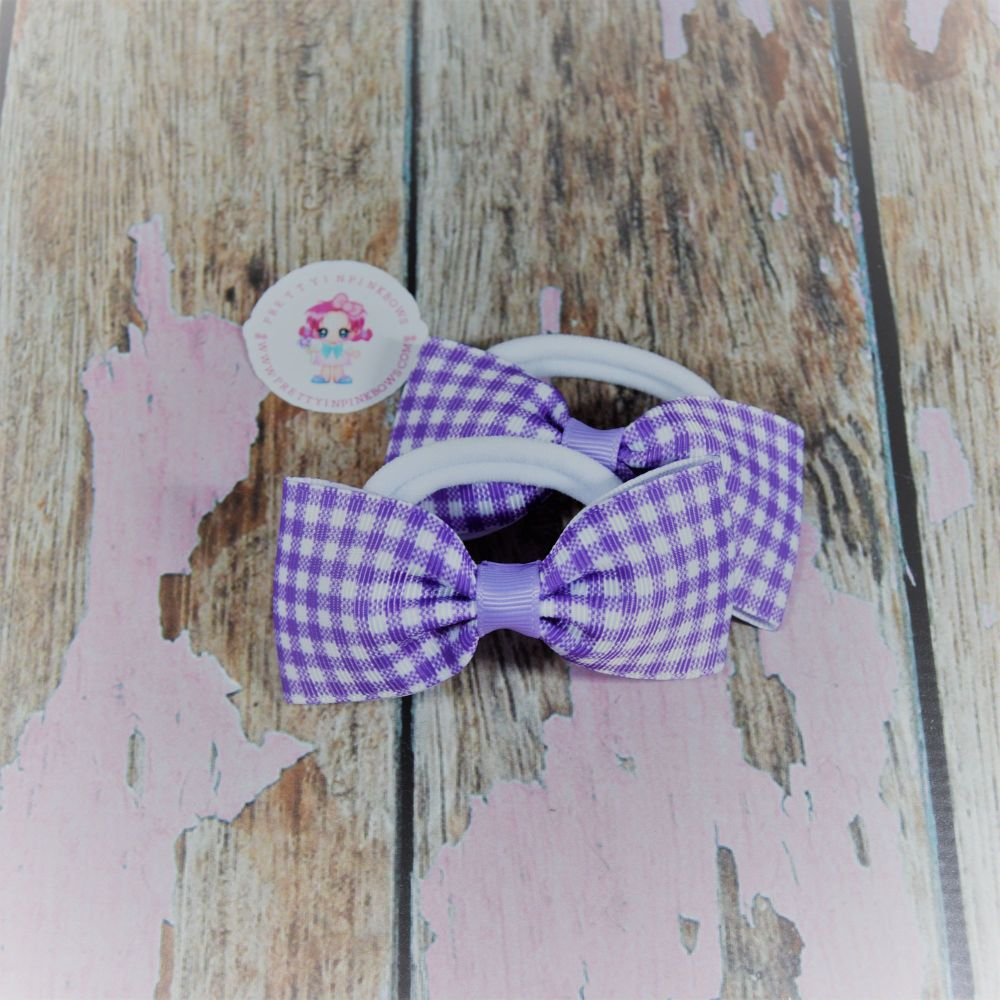 Minnie Bows ( Lilac Gingham ) on Bobbles