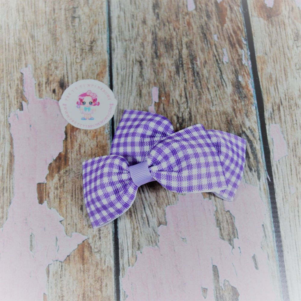 Minnie Bows ( Lilac Gingham ) on Crocs