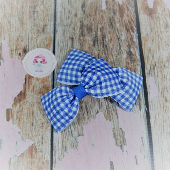 Minnie Bows On Croc Clip ~ Royal Blue Gingham