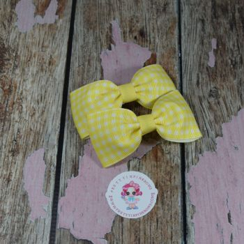 Minnie Bows On Croc Clip ~ Yellow Gingham