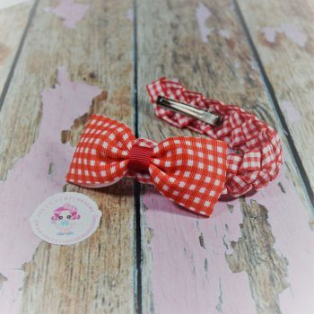 Small Bun Wrap ~ Red Gingham with Bow