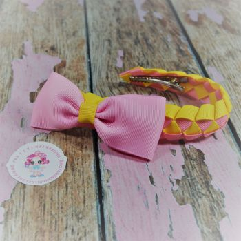 Small Bun Wrap ~ Pink and Yellow with Minnie bow