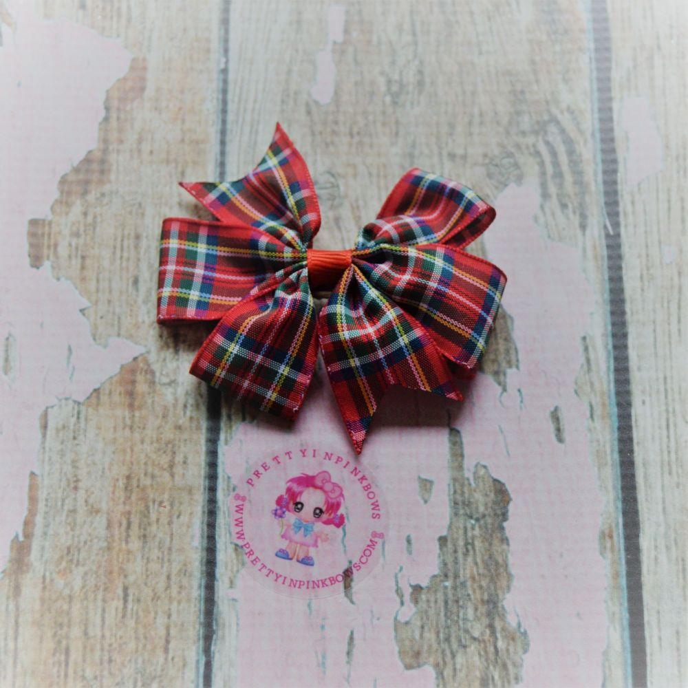 Red Tartan Pinwheel On Croc Clip