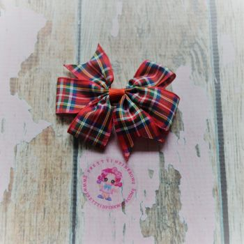 Double Loop Pinwheel - Red Tartan ~ On Croc Clip