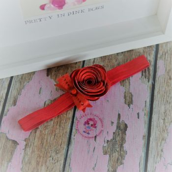 Hand Rolled Double Layer Rose and Bow Baby Band in Red