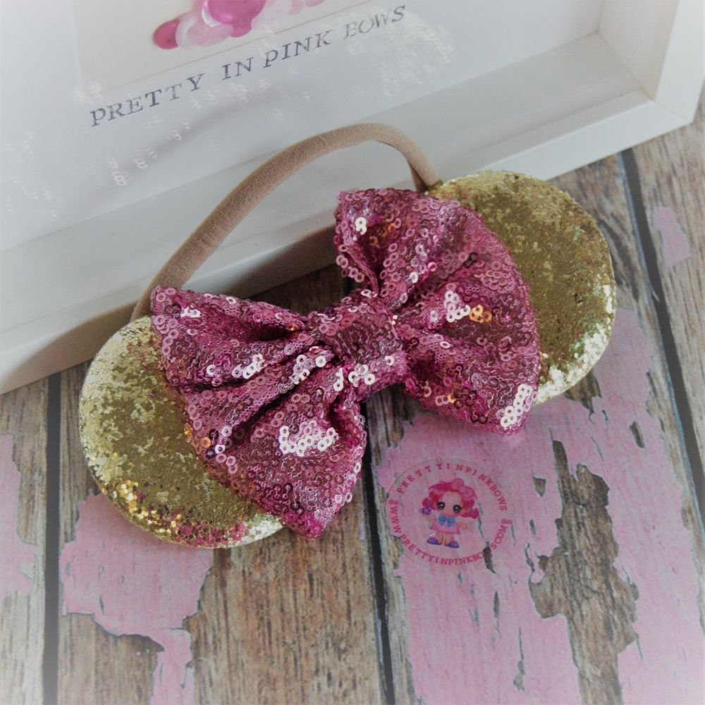 Gold and Pink Minnie Ears on Baby Band