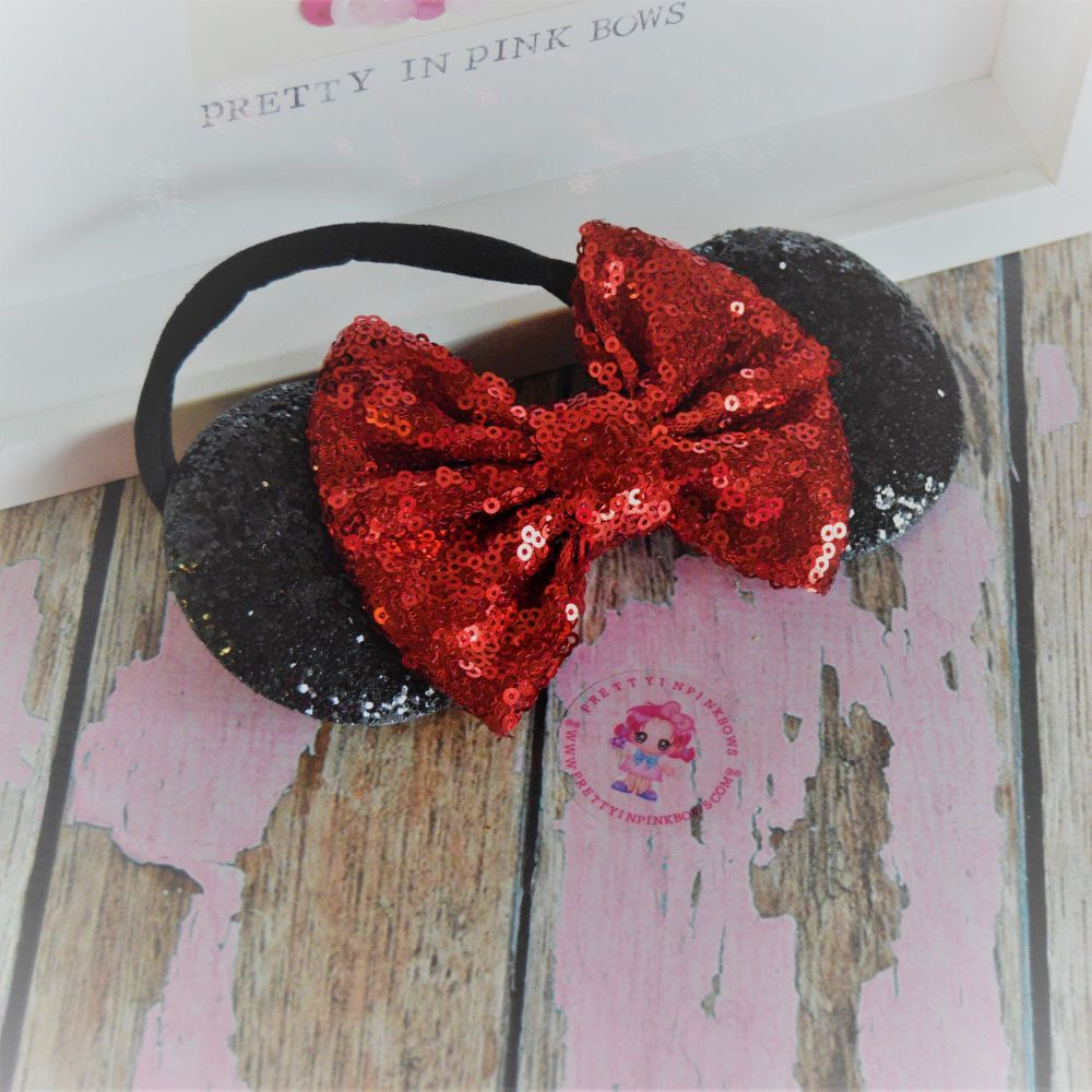 Black and Red Minnie Ears on Baby Band