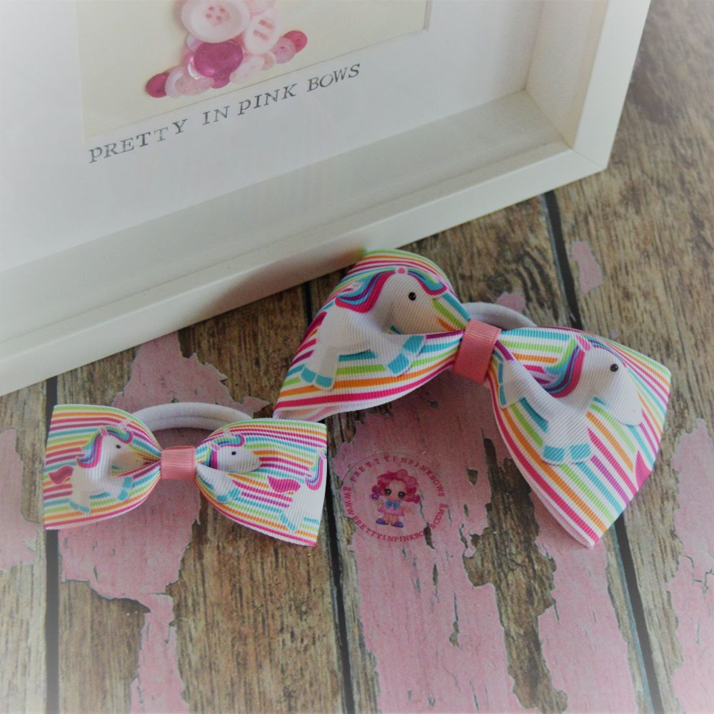 Pony set ~ Stripy Unicorn Minnie Bows on bobbles