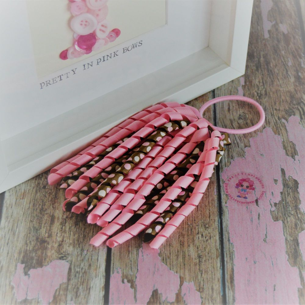 Long Korker ~ Pink and brown polkadot