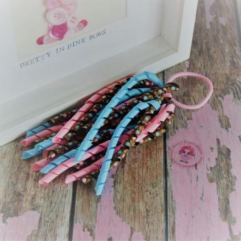 Long Korker ~ Blue, Pink and Brown polkadot