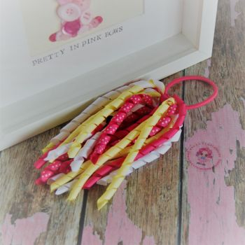 Long Korker ~ White, Yellow Hot pink polkadot