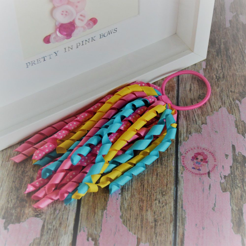 Long Korker ~ Blue Yellow and Pink Polkadot