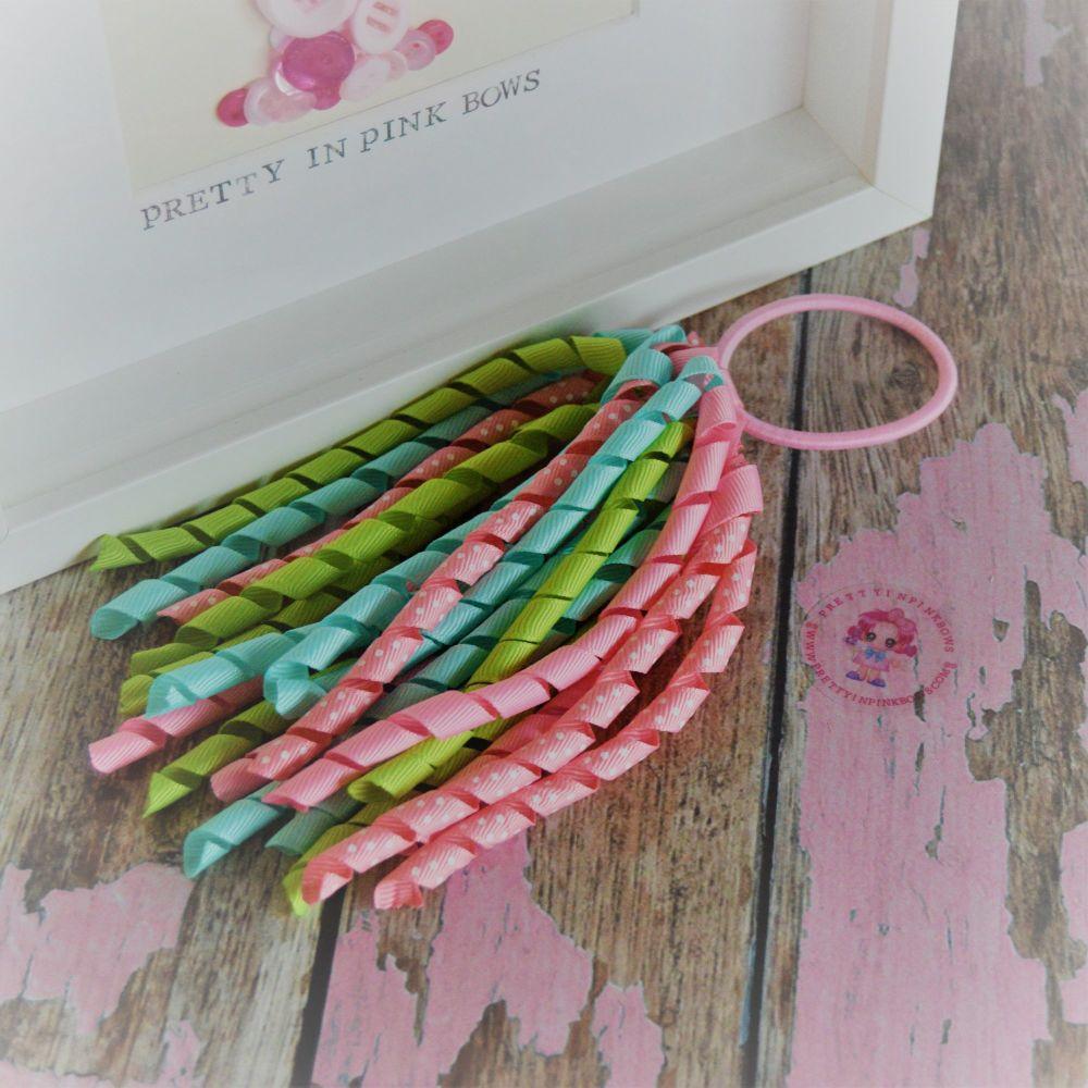 Long Korker ~ Mint, Green and Pink polkadot