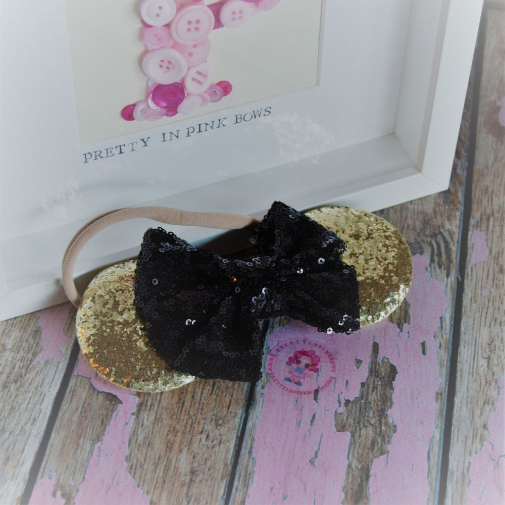 Gold and Black Minnie Ears on Baby Band