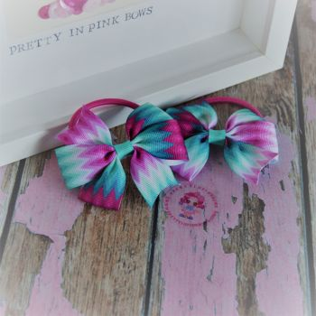 Double Loop Pinwheels - Pink Teal And White Chevron ~ On Bobbles