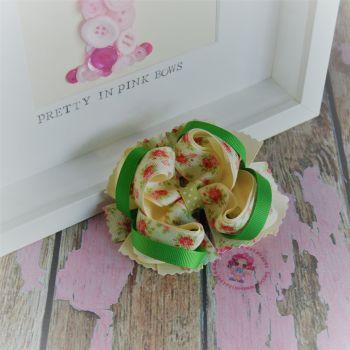Princess Bow - Vintage Flowers ~ On Croc Clip