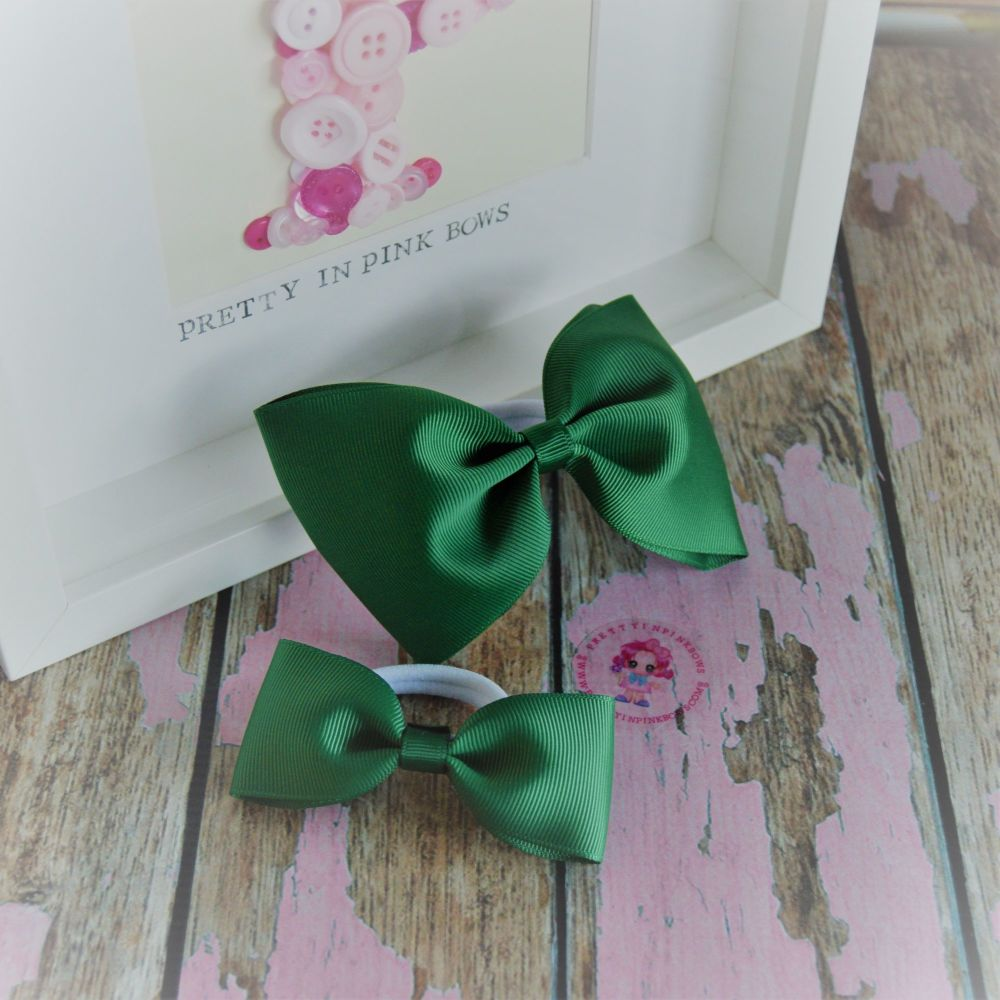 Pony set ~ Forrest Green Minnie Bows on bobbles