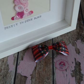 Minnie Bow On Croc Clip ~ Red Tartan