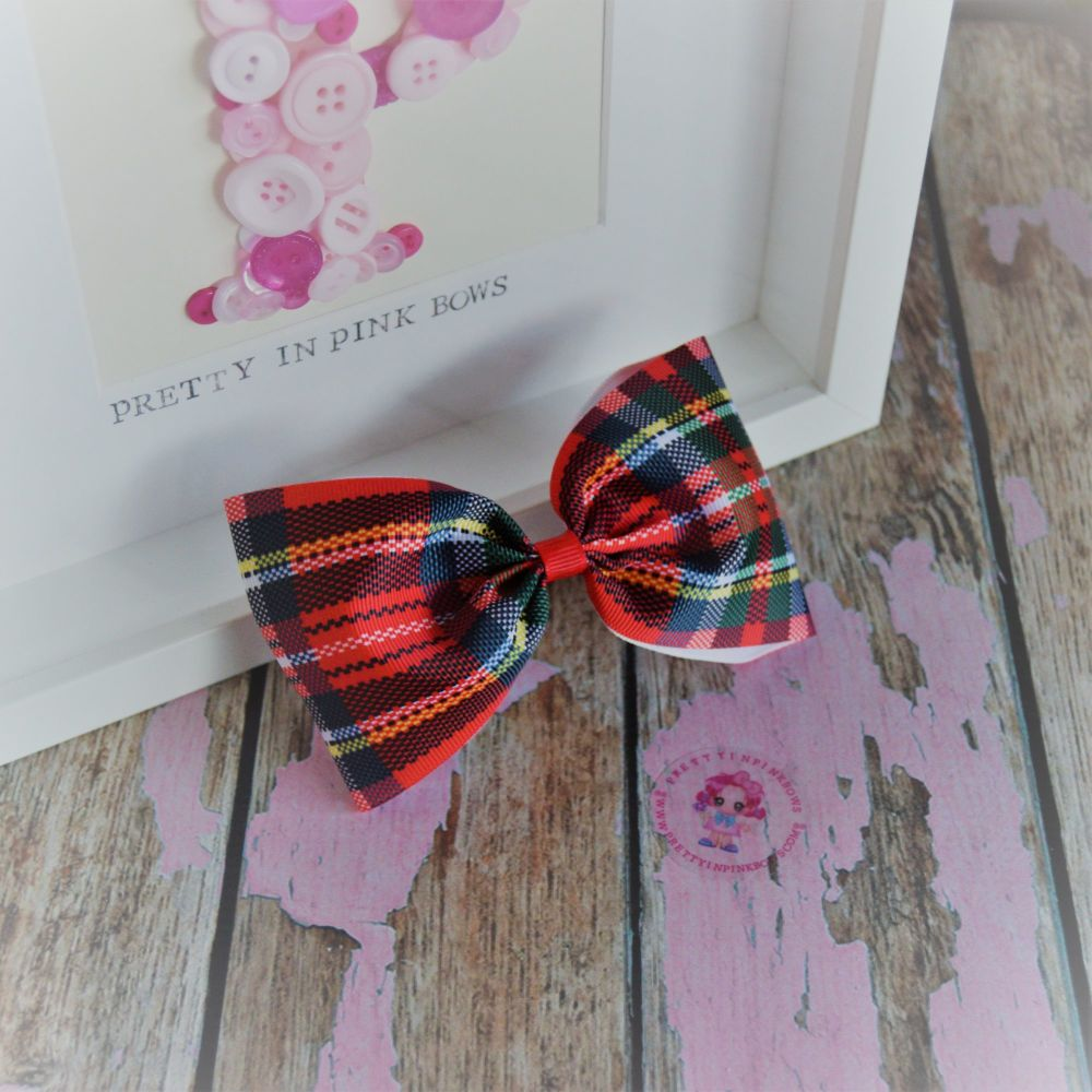 Large Minnie Bow ~ Red Tartan on croc