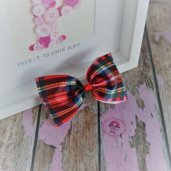 Large Minnie Bow - Red Tartan ~ On Croc Clip