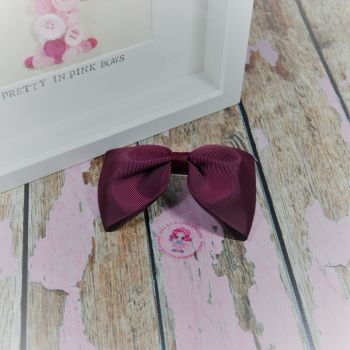 Large Minnie Bow - Burgundy ~ On Croc Clip
