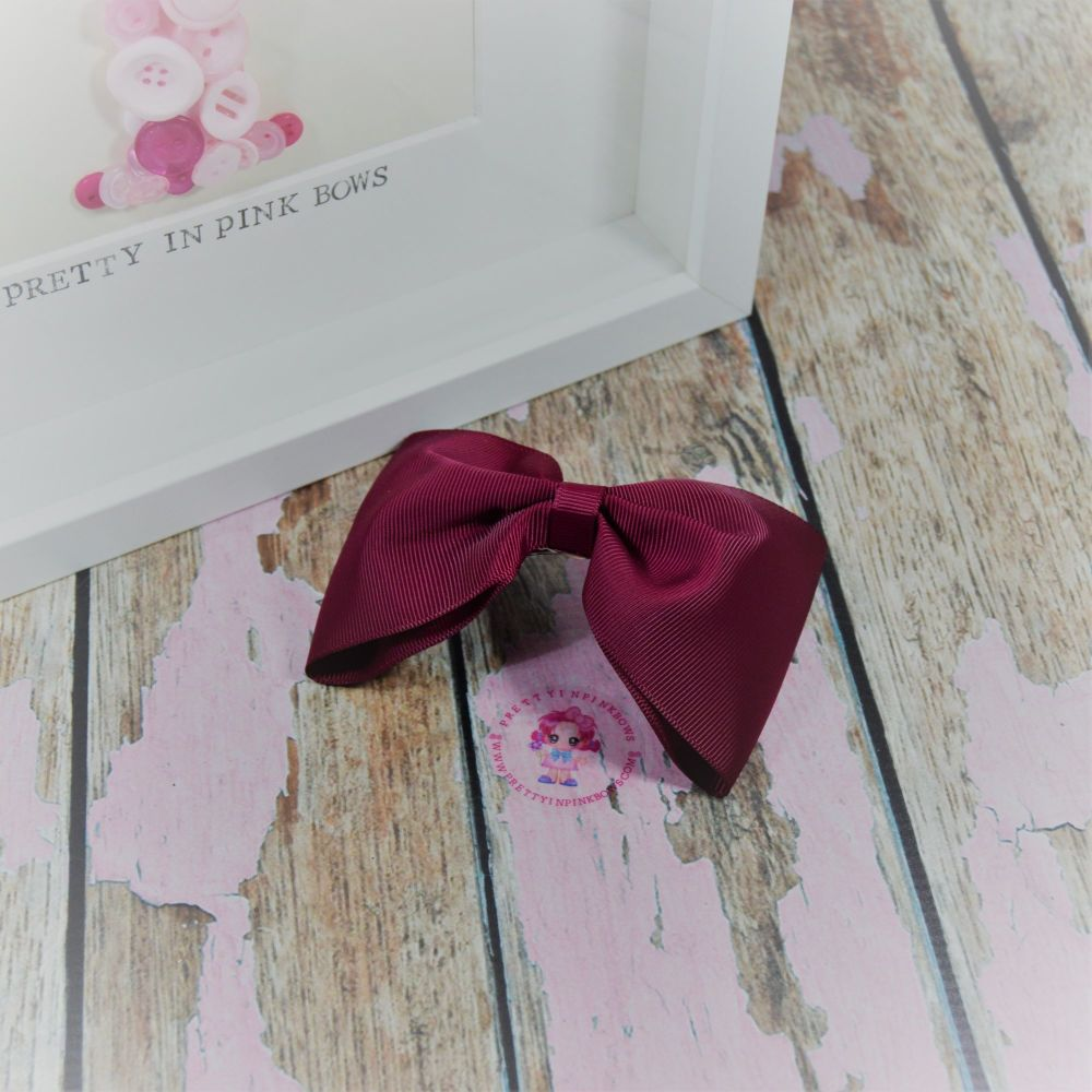 Large Minnie bow ~ Wine - on croc