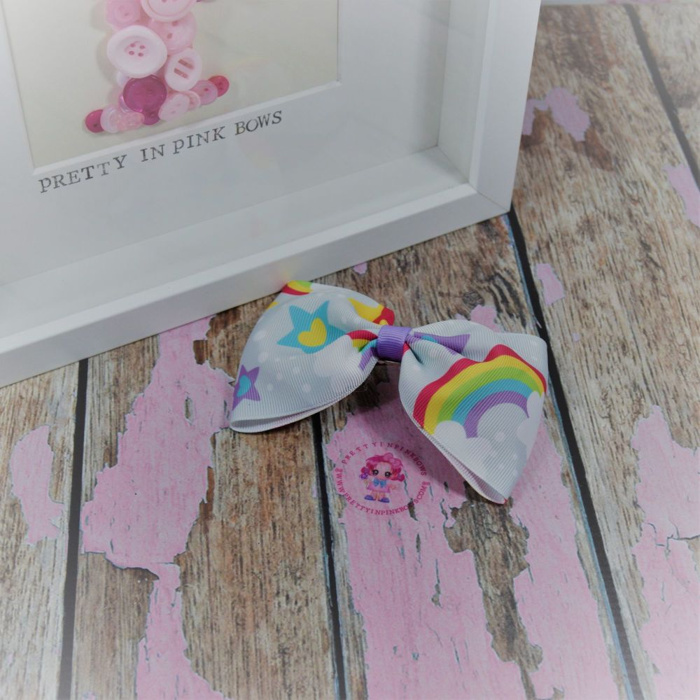 Large Minnie bow ~ Sliver Rainbows - on croc