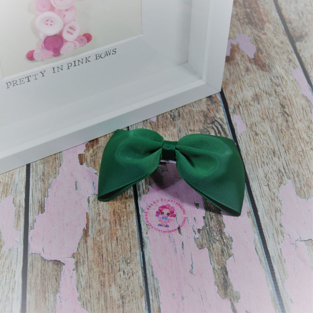 Large Minnie Bow - Forest Green ~ On Croc Clip