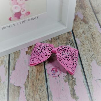 Large Minnie Bow - Pink With Black Polkadots ~ On Croc Clip