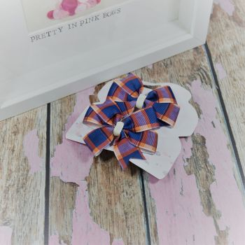 Double Loop Pinwheels - Navy And Gold Tartan ~ On Croc Clips