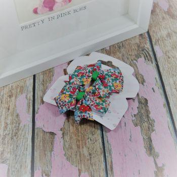 Double Loop Pinwheels - Bright Flowers ~ On Croc Clips