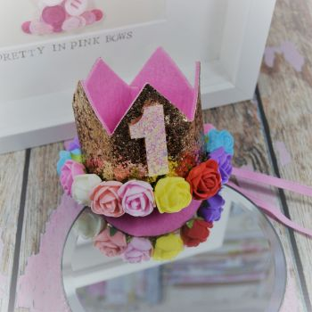 1st birthday crown - Royal Gold ~ Multi colour flowers