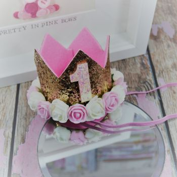 1st birthday crown - Royal Gold ~ Pink and Cream flowers