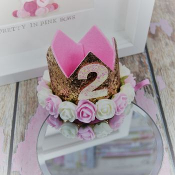 2nd Birthday crown - Royal Gold ~ Pink and Cream Flowers