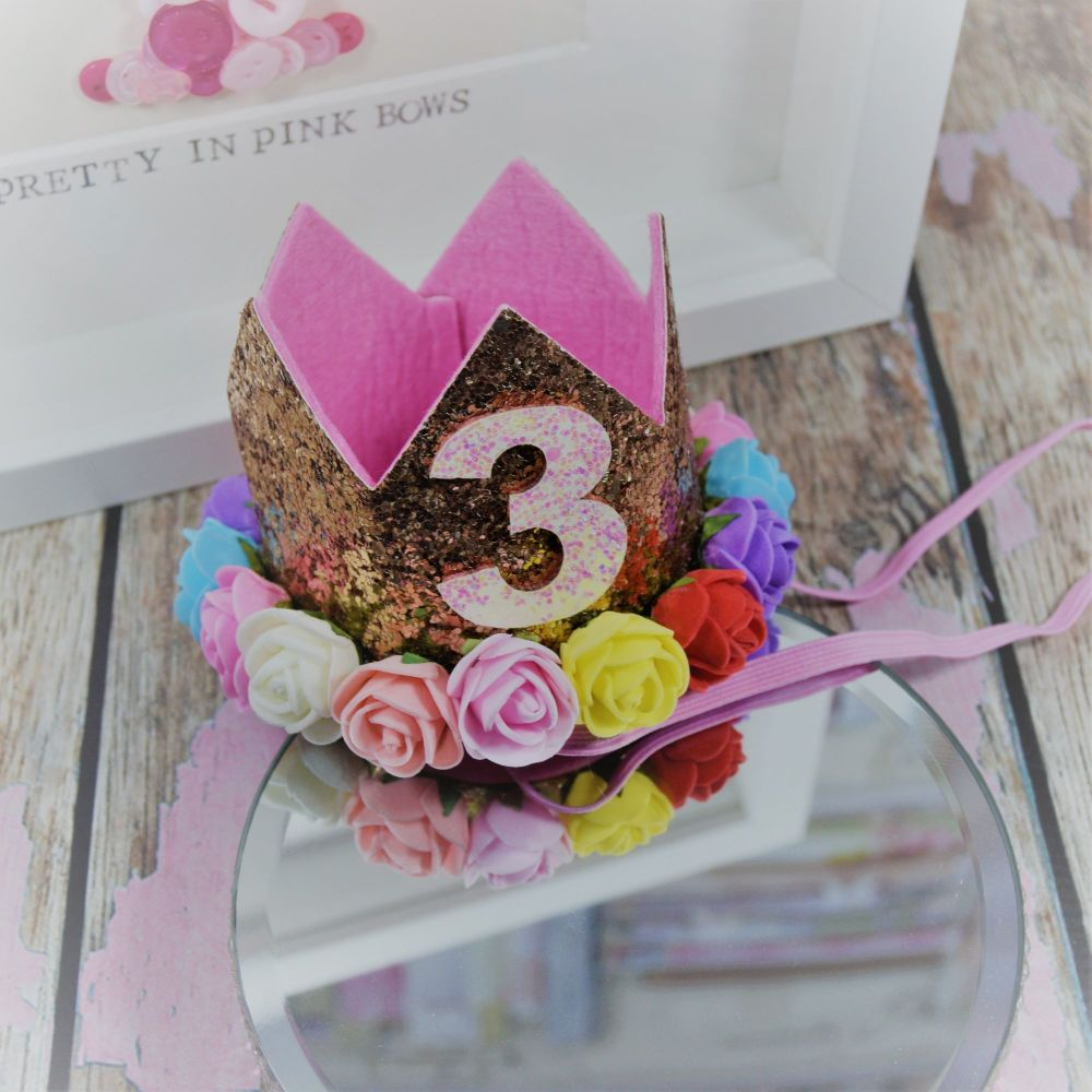 3 RD Birthday Crown - Royal Gold ~ Multi coloured Flowers