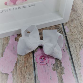 "4"" Boutique Bow On Croc Clip ~ White"