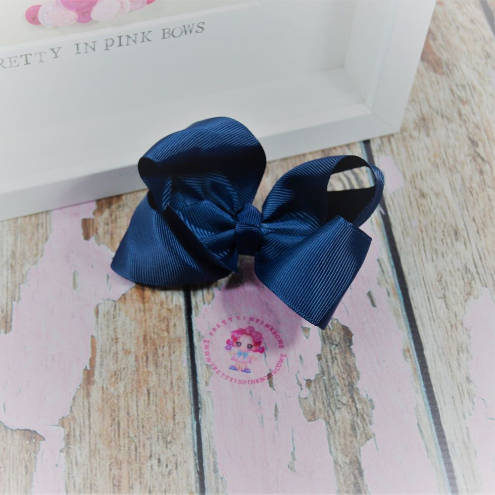 "4"" Boutique Bow On Croc Clip ~ Navy"