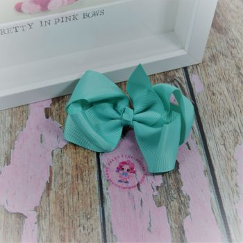 "4"" Boutique Bow On Croc Clip ~ Aqua"