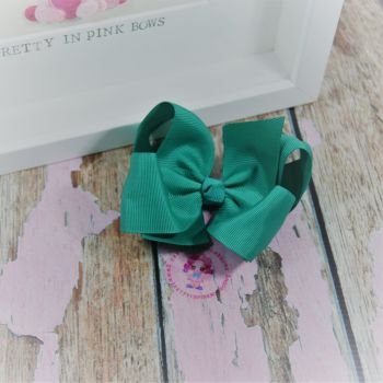 "4"" Boutique Bow On Croc Clip ~ Parrot Green"